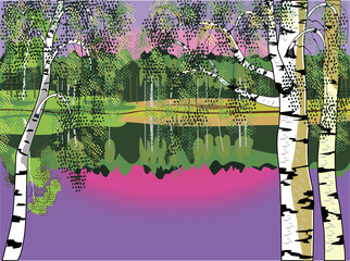 Landscape witn birch and lake