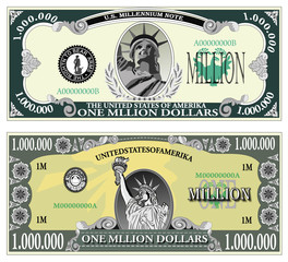 Sample banknote of a million dollars