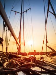 Sailboat in sunset light