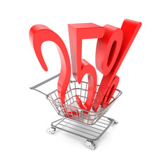 Twenty five percent symbol in shopping cart