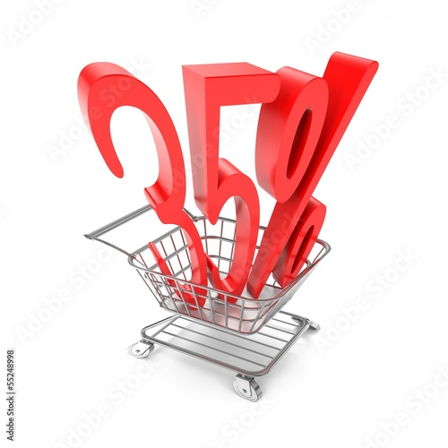 Thirty five percent symbol in shopping cart