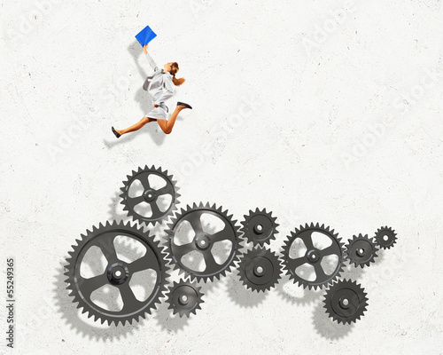 Business woman and mechanism elements
