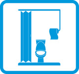 vector restroom icon with lavatory pan and toilet paper