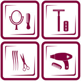 set barbershop tools - symbol of beauty care poster