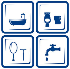 vector blue bathroom icons set