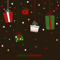 Stylized Christmas and New Year holiday card with presents