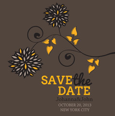 Romantic wedding card,save the date floral card