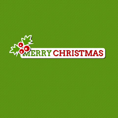 Merry Christmas green card with stylized sticker, holiday design