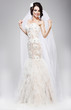 Expectation. Beautiful Jubilant Bride in White Wedding Dress