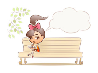 Dreaming Girl. Young girl dreaming on park bench