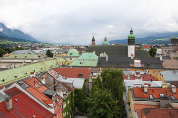 View on the old center of Innsbruck, Tyrol, Austria