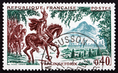 Postage stamp France 1966 Vercingetorix at Gergovie, 52 B.C.