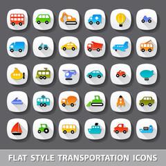 Flat style transportation icons