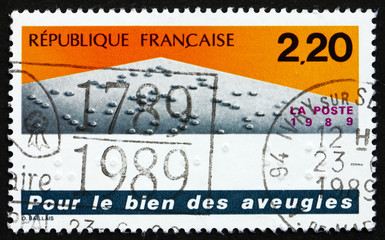 Postage stamp France 1989 Braille Tactile Writing System