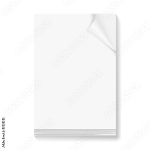 Stack of blank paper sheets.