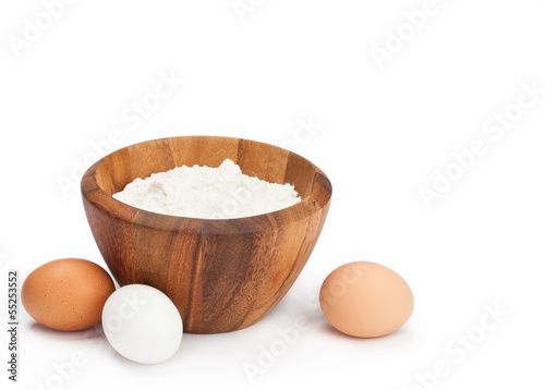 Flour and Eggs on white