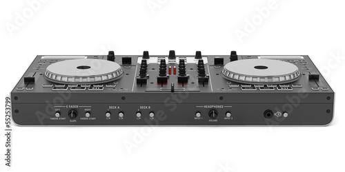 Leinwandbild Motiv black dj mixer controller isolated on white background