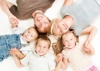 Happy Big Family Together on White Background