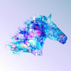 horse illustration in blue tones