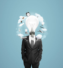 businessman with head bulb
