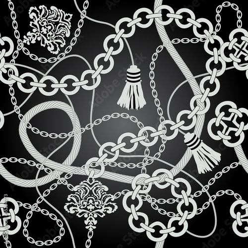 Silver chain seamless. Vector background.