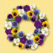 Pansy Wreath spring Viola flowers, polka dots, pastel gold