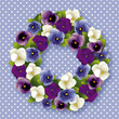 Pansy Wreath spring Viola flowers, polka dots, pastel blue