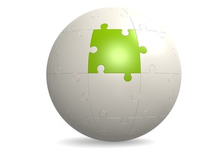 White round puzzle with green