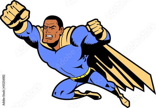 Black Flying Superhero With Clenched Fist