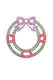 Red green wreath made of rhinestones poster