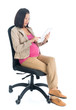 Pregnant Asian business woman using digital computer tablet pc