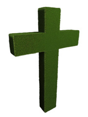 Cross from grass