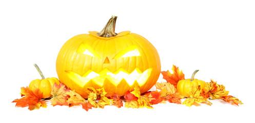 Halloween Jack o Lantern with autumn leaves