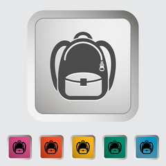 Schoolbag. Single icon. Vector illustration.