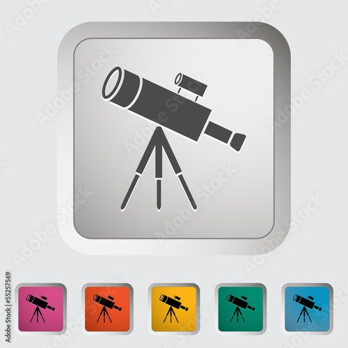 Telescope. Single icon. Vector illustration.