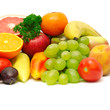 fresh fruits and vegetables on white background