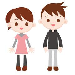 長袖 普段着の男の子と女の子