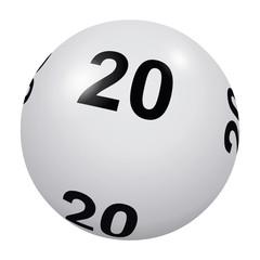 Loto, boule blanche numéro 20