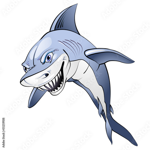 Cartoon blue shark over white background