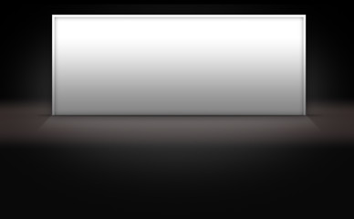 Blank White Sign on Dark 3d Background