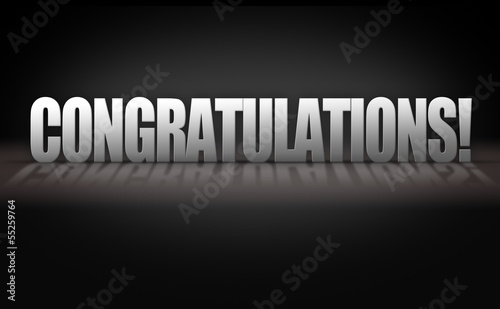 Congratulations 3D Letters on Black Background