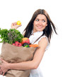 woman with shopping bag with vegetables and fruits