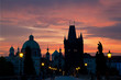 Sunrise on Charles  bridge in Prague, the Czech Republic