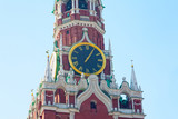 Chiming clock on the Spassky tower in the Moscow Kremlin, Russia poster