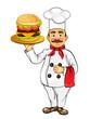 Chef with hamburger
