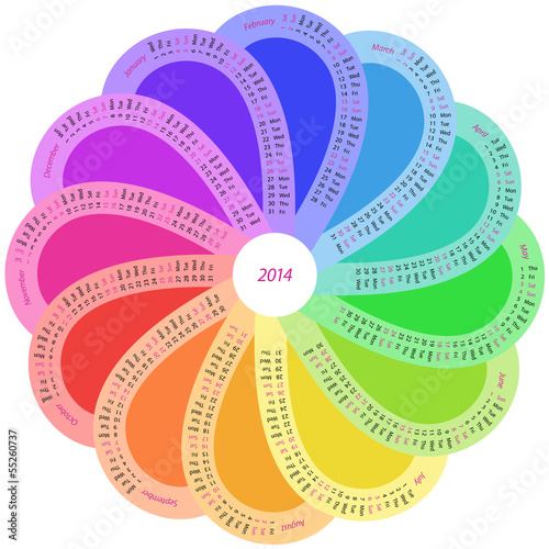 Round calendar for 2014 in rainbow color
