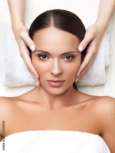 Tela Spa Woman. Close-up of a Young Woman Getting Spa Treatment. Face