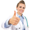 Doctor woman showing thumbs up
