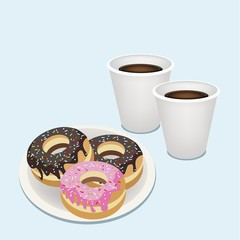 A Hot Coffee in Disposable Cup with Glazed Donuts