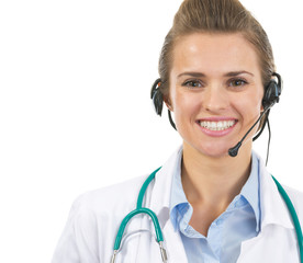 Portrait of smiling doctor woman in headset